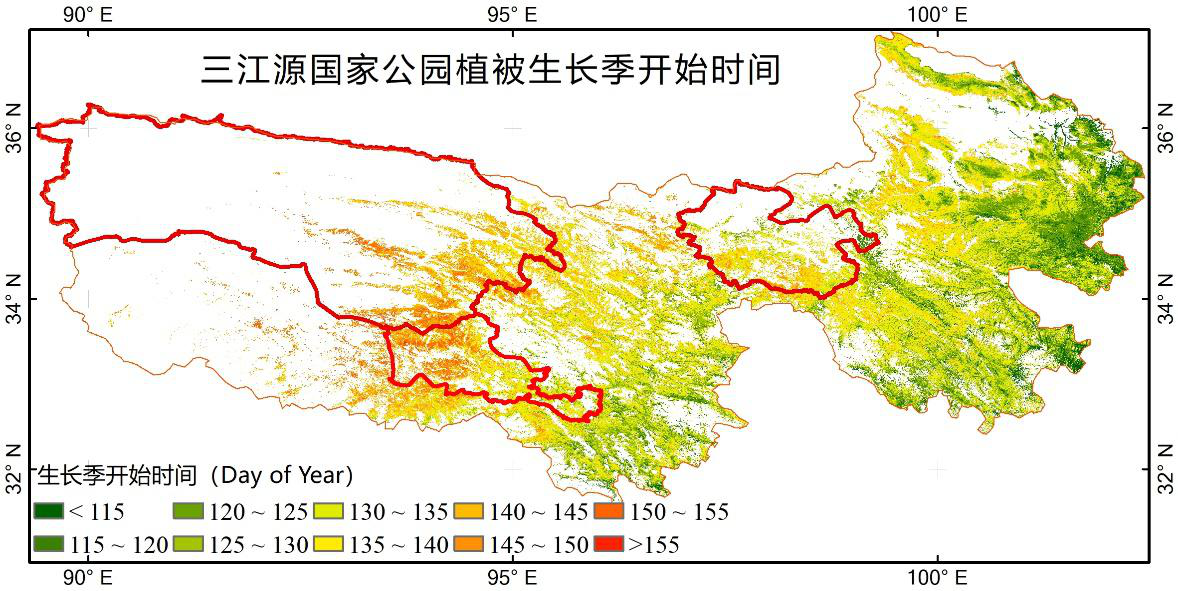 MODIS NDVI based phenology for the Three-River-Source National Park from 2001 to 2018